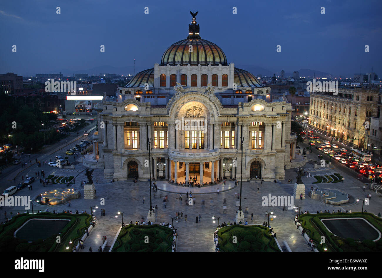 Mexico, Mexico City. Palacio de Bellas Artes ('Palace of Fine Arts') is the premier opera house of Mexico - Stock Image