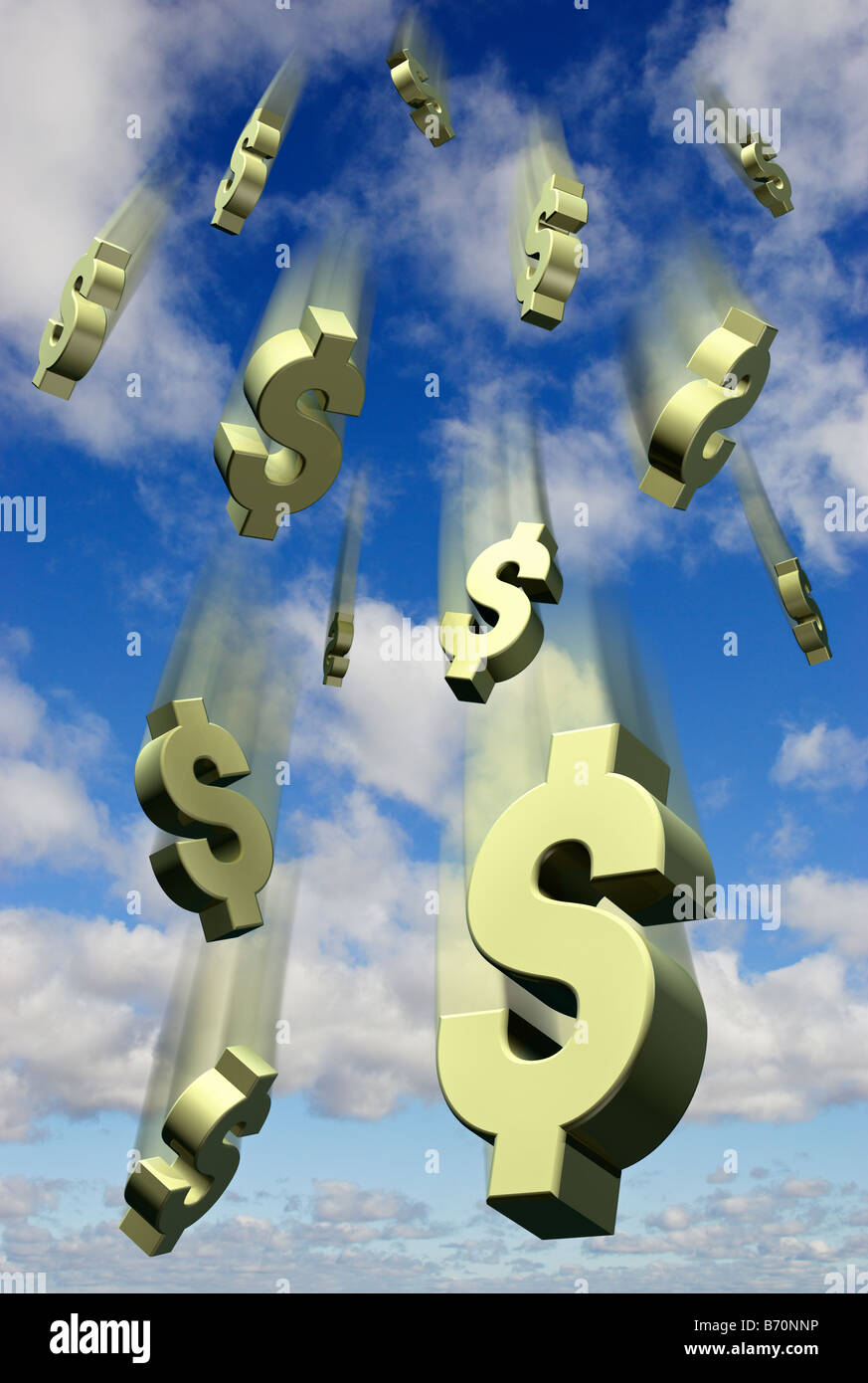 Falling US Dollar symbols against a blue sky - digital composite - Stock Image