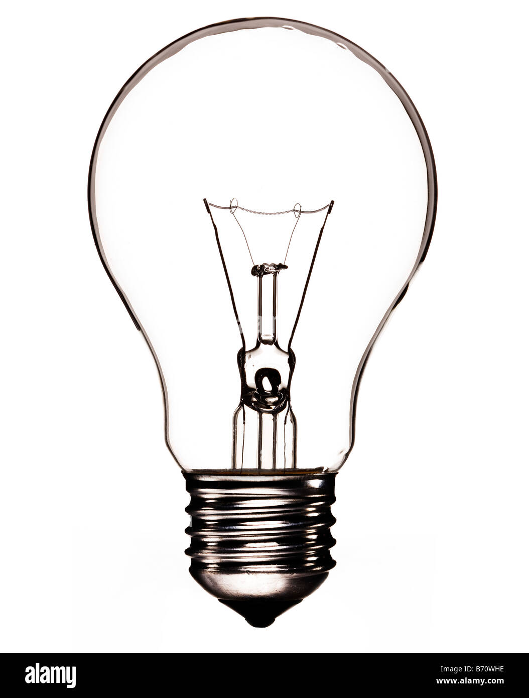 "Transparent lightbulb with filament and Edison Screw or ""ES"" lamp fitting - Stock Image"