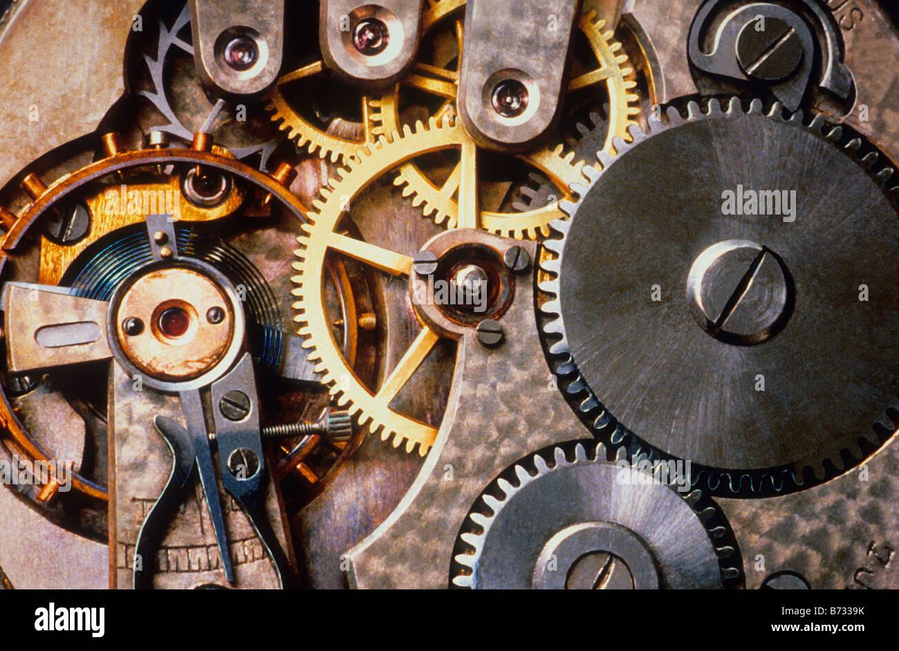 Clock Interior Watch Gears Close up Sandra Baker - Stock Image