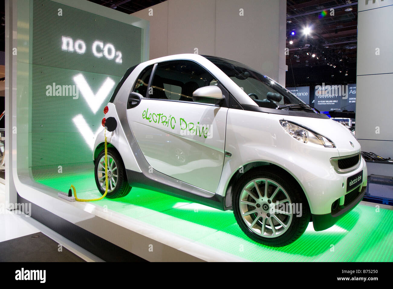 Detroit Michigan The Smart electric car on display at the North American International Auto Show - Stock Image