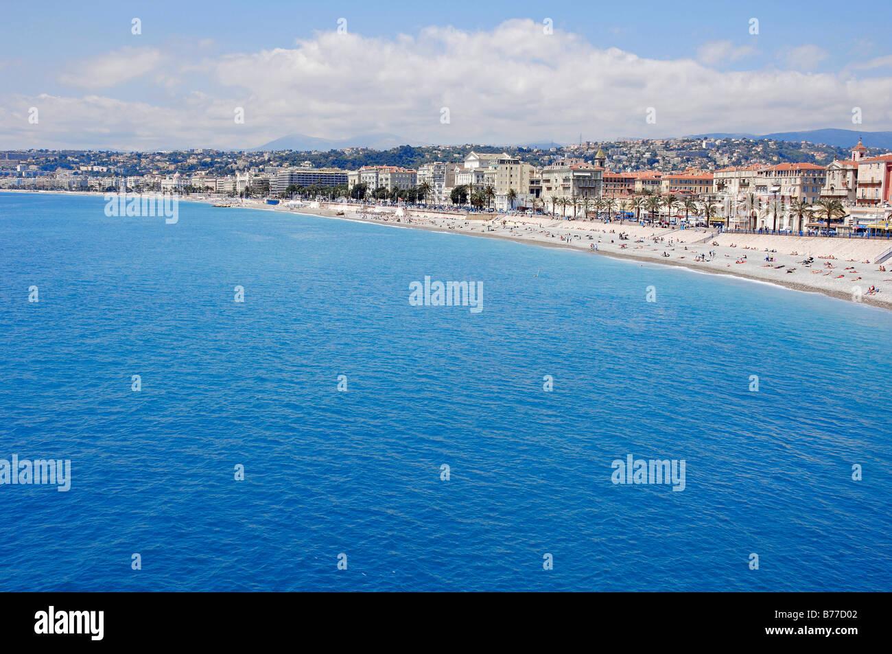 Beach, Nice, Alpes-Maritimes, Provence-Alpes-Cote d'Azur, Southern France, France, Europe - Stock Image
