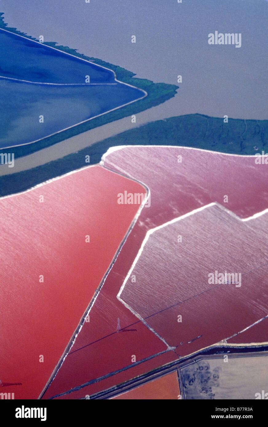 Aerial,salt evaporating ponds,San Francisco Bay California Stock Photo