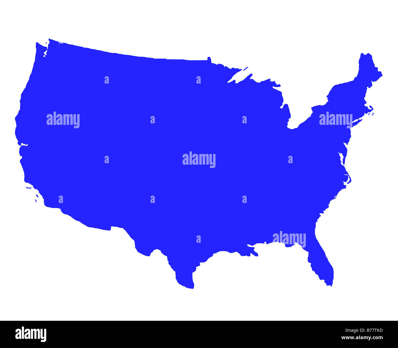 United States of America outline map in blue isolated on white Stock ...