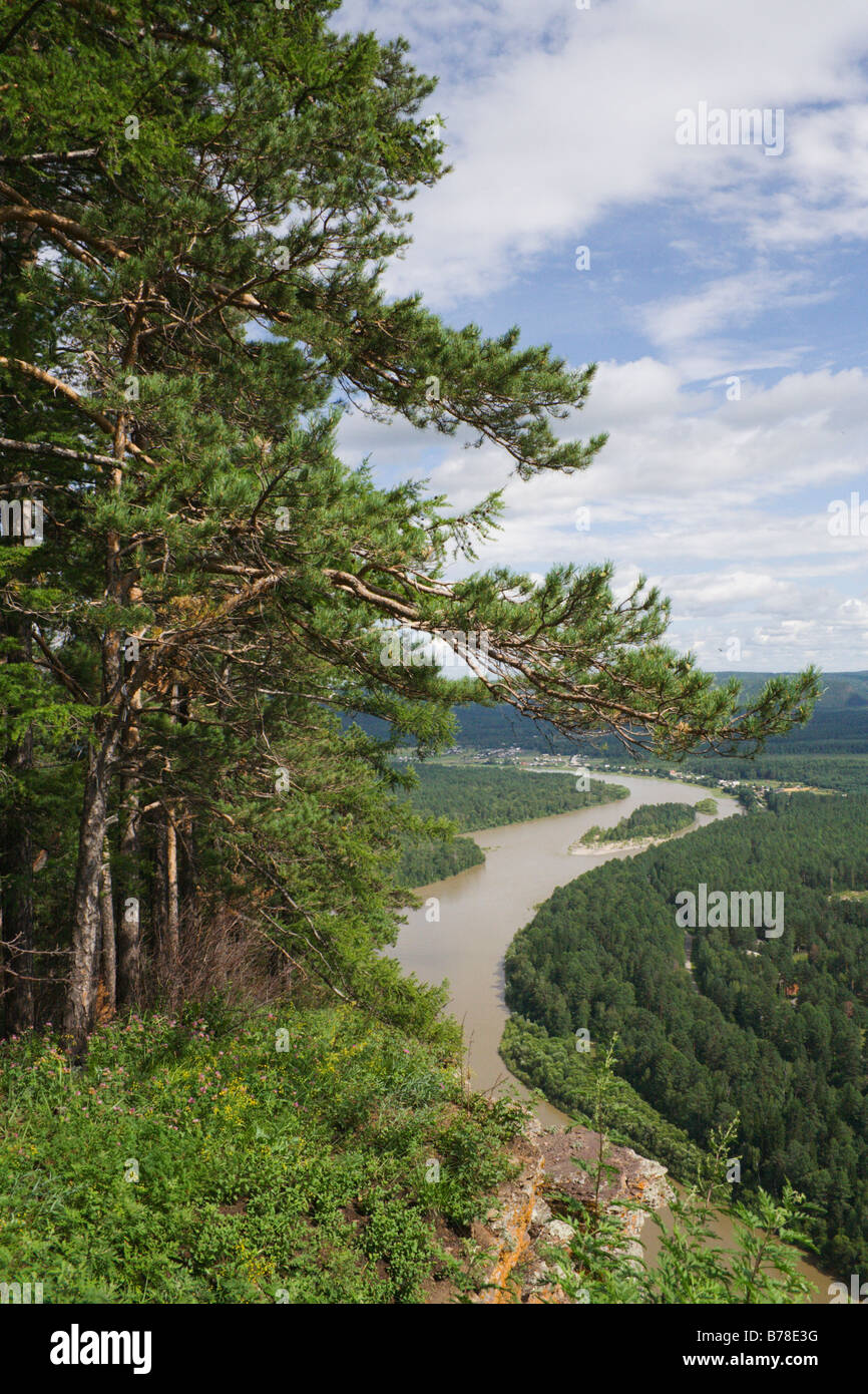 Winding river view from high riverbank - Stock Image
