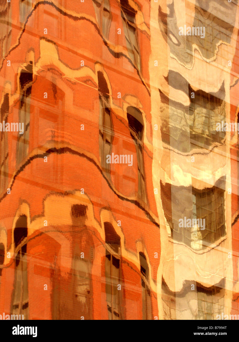 Abstract reflections of buildings - Stock Image