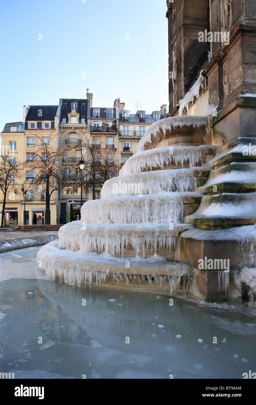 Frozen water on the Fountain of the Innocents, near Les Halles, Paris, France, Europe Stock Photo
