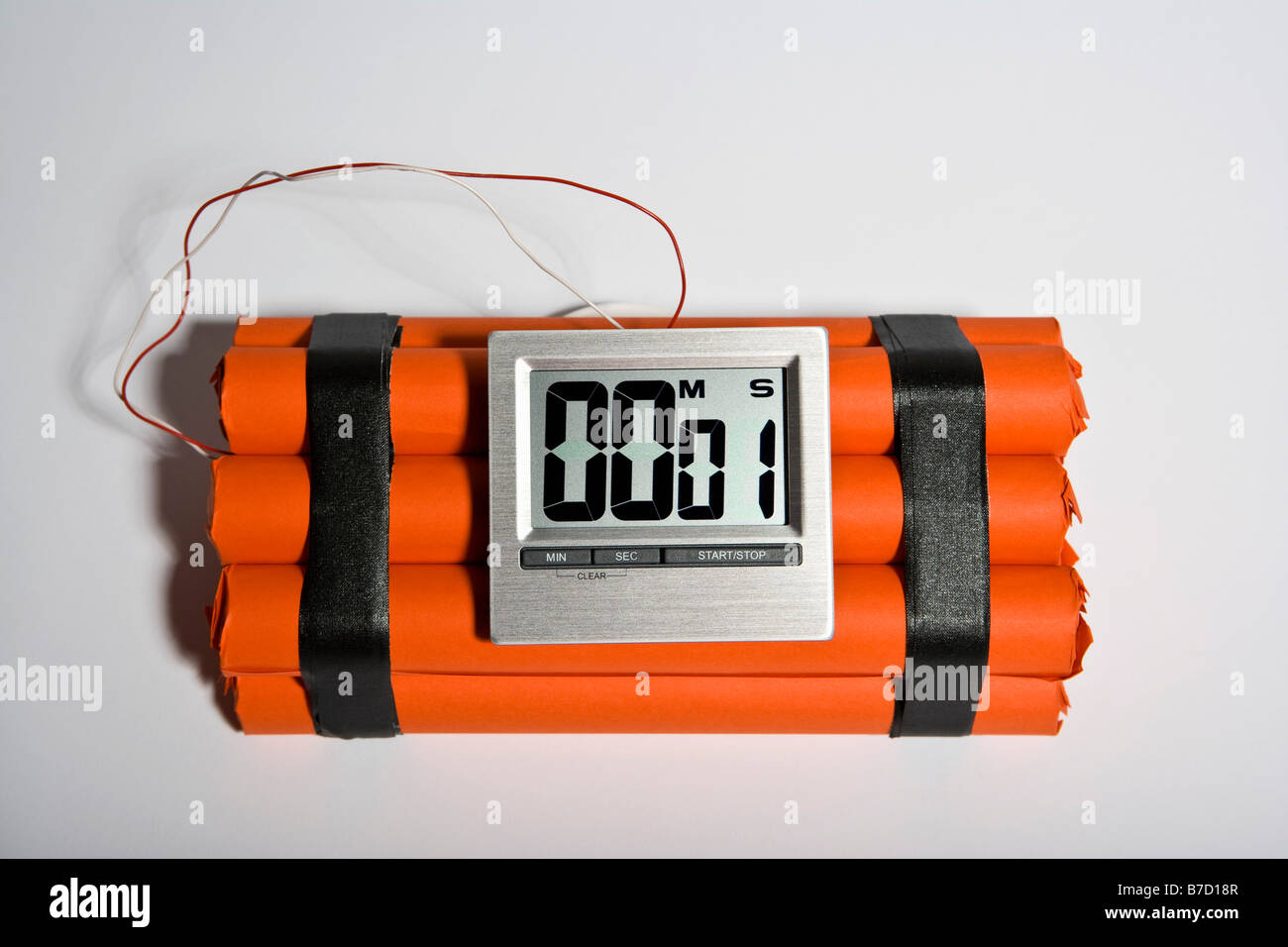 A dynamite time bomb with 1 second left on the timer - Stock Image