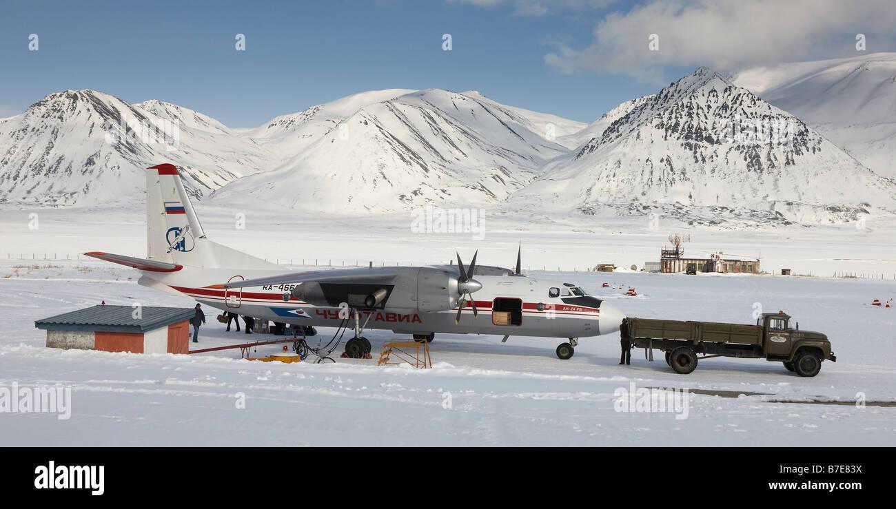 Antonov AN-24RV jet, Chukotka, Siberia Russia - Stock Image