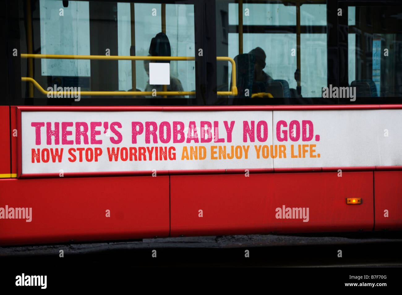 Hackney London Atheist advert on London bus saying There's probably no God - Stock Image