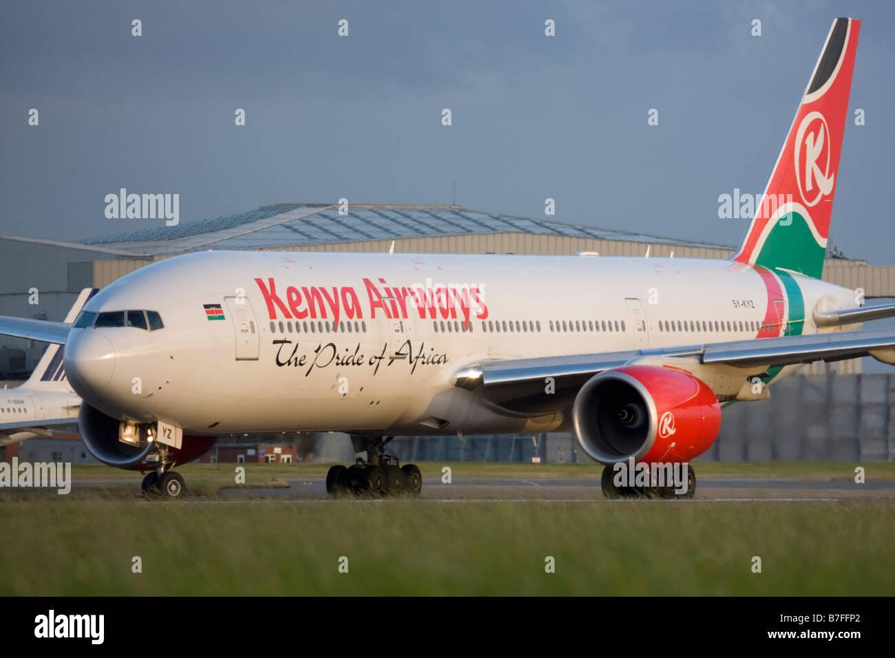 Kenya Airways Boeing 777-2U8/ER at London Heathrow airport. - Stock Image