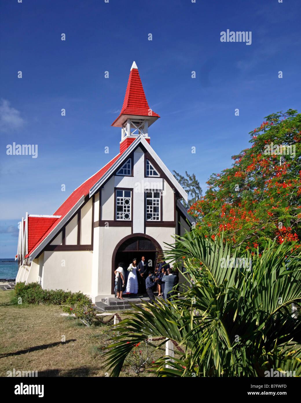 Wedding in Eglise de Cap Malheureux Mauritius Africa Stock Photo