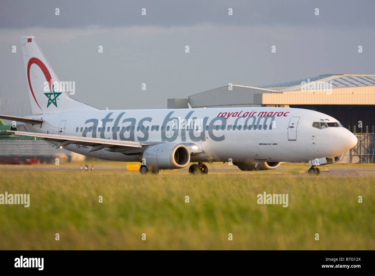 Atlas Blue (Royal Air Maroc - RAM) Boeing 737-4B6 at London Heathrow airport. - Stock Image