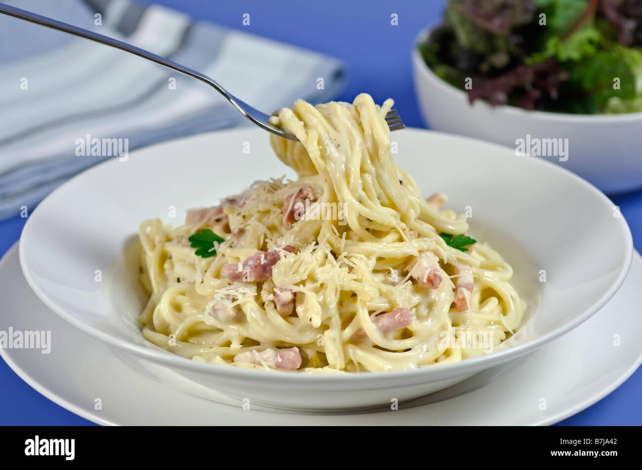 Spaghetti carbonara Italian food Stock Photo