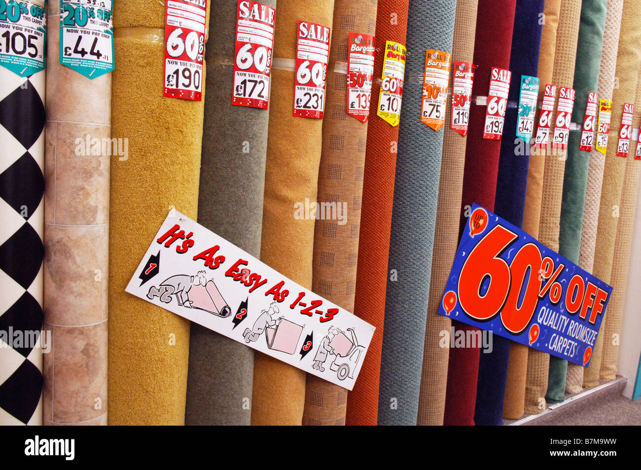 rolls of different discount carpets for sale in carpet right some with up to 60 off with the sign its as easy as 1 2 3 - Carpets For Sale