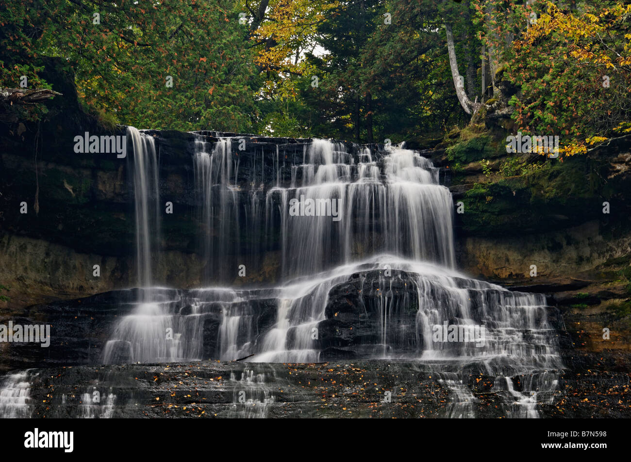 Autumn Color at Laughing Whitefish Falls in Alger County Michigan Stock Photo