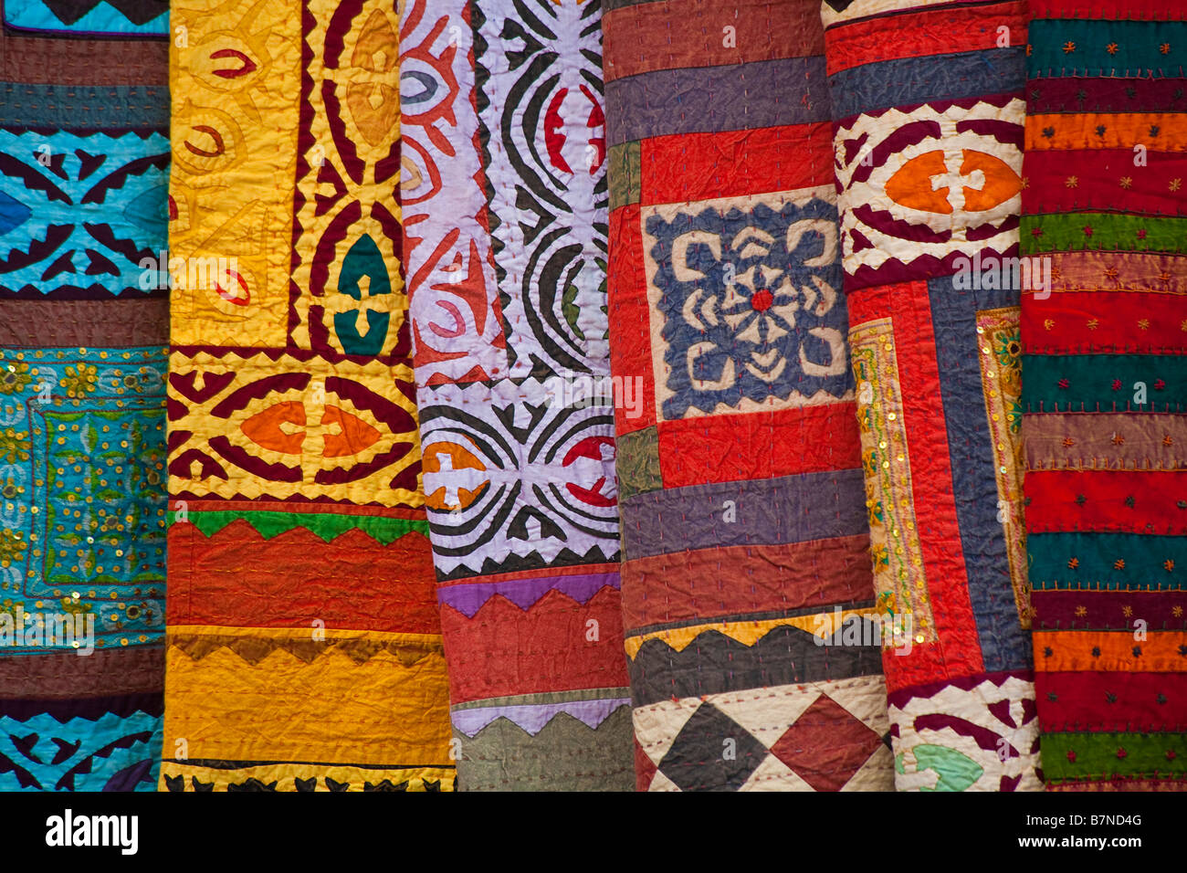 Colorful Rugs And Blankets Sold By The Street Vendors Of Santa Fe