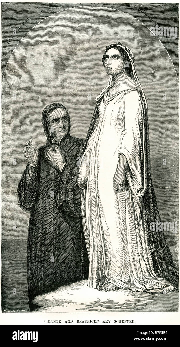 dante beatrice ary scheffer lady man standing staring religion - Stock Image