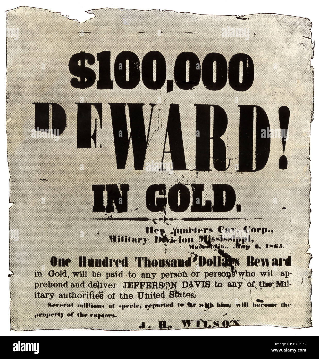 reward poster offering 100 000 in gold for the capture of jefferson