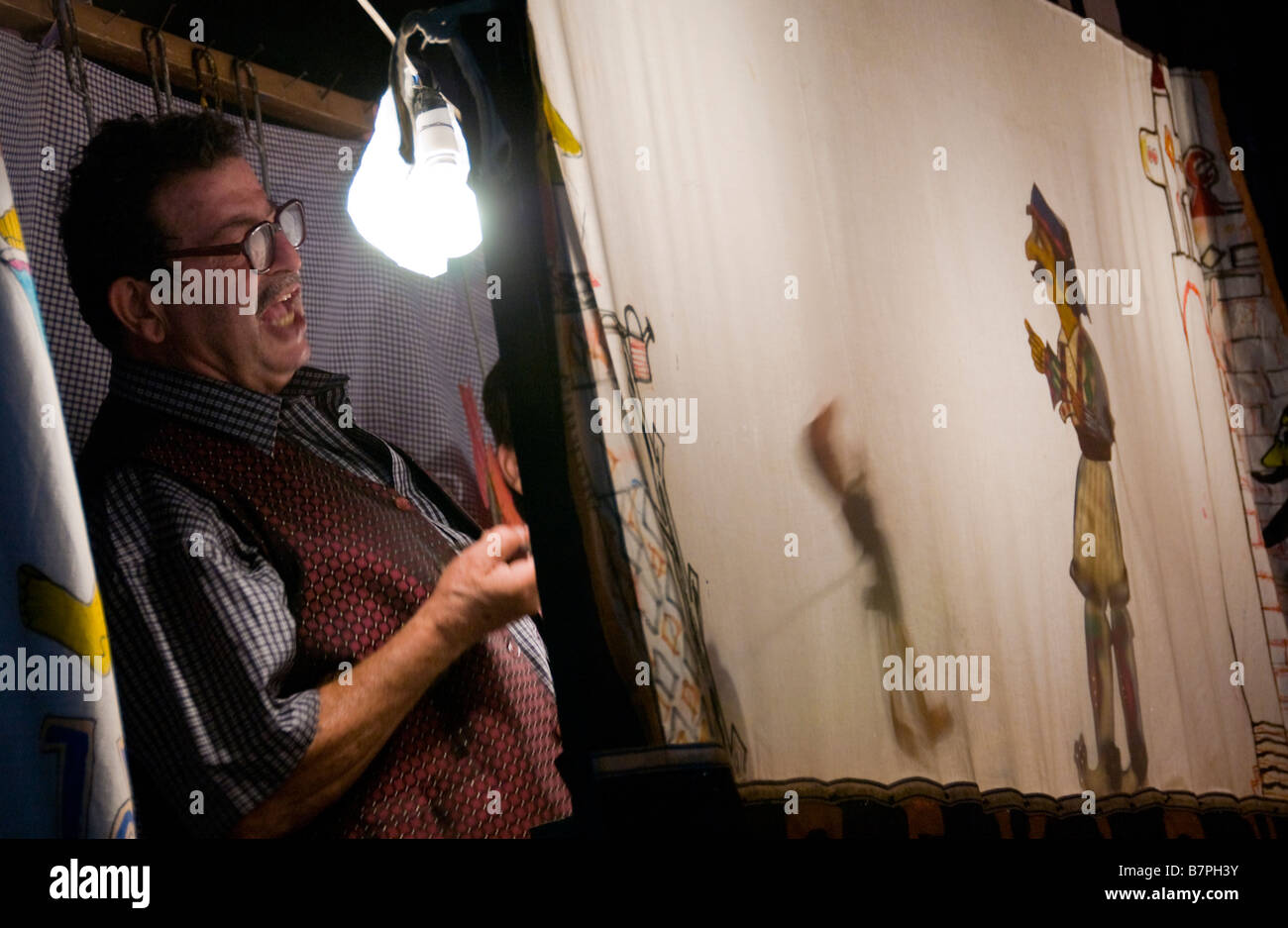Puppet shadow theatre at the 24th Ayia Napa Festival on the Eastern Mediterranean island of Cyprus EU Stock Photo