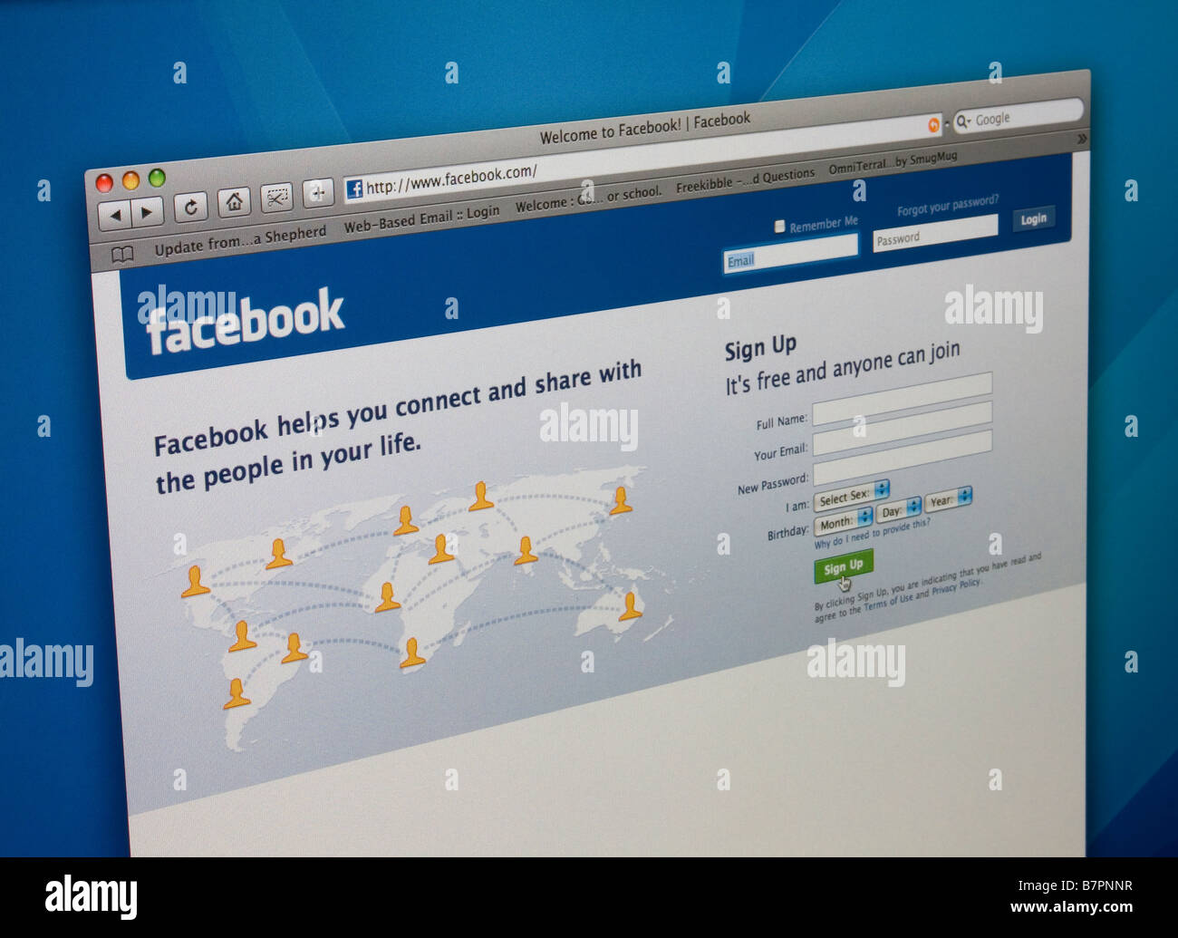 Facebook page photograph of a computer monitor with the Facebook.com website homepage displayed. - Stock Image