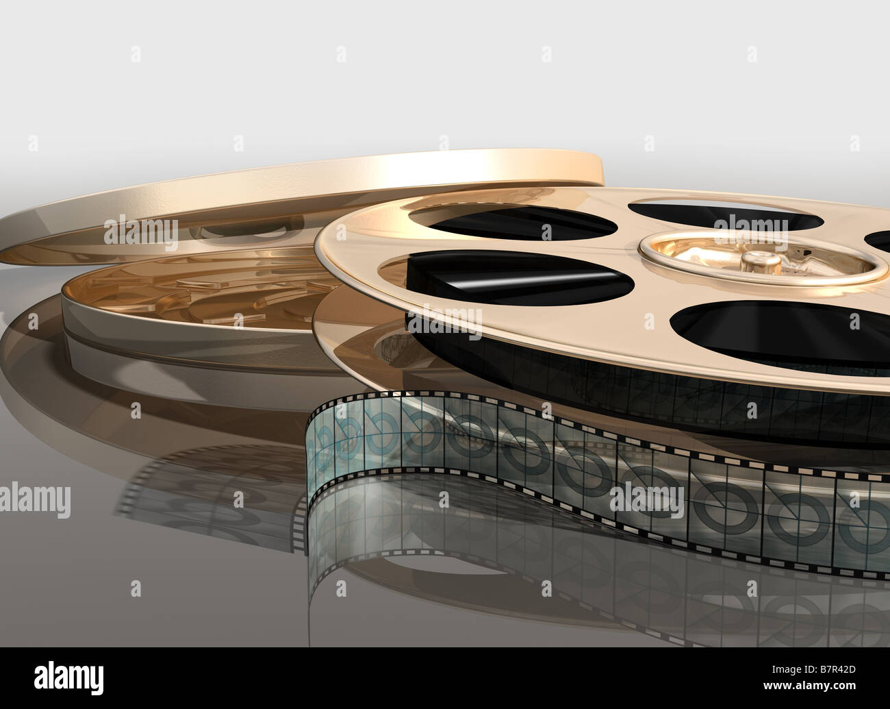 Illustration of a cinema film reel next to its canister - Stock Image