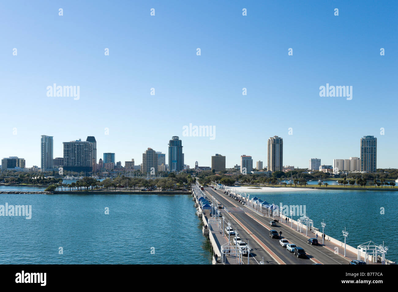 View of Downtown from St Petersburg Pier, St Petersburg, Gulf Coast, Florida, USA - Stock Image