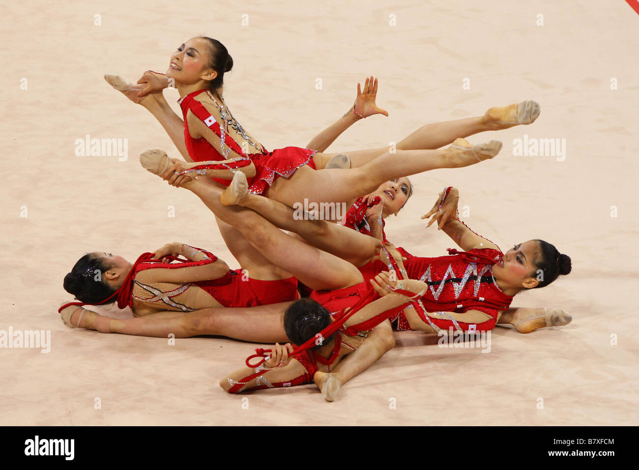 Rhythmic Gymnastics Japan National Team Group JPN AUGUST 21 2008 Rhythmic Gymnastics Beijing 2008 Olympic Games - Stock Image