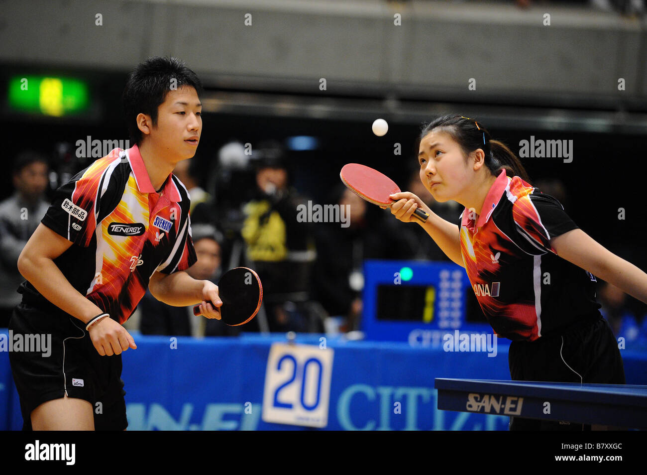 L to R Jun Mizutani Ai Fukuhara JANUARY 14 2009 Table Tennis All Japan Table Tennis Championship Mixed Doubles at - Stock Image