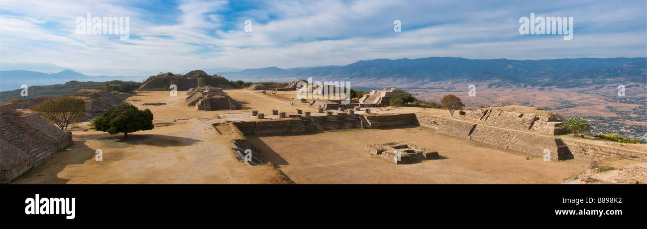 Panorama of sacred site Monte Alban in Mexico - Stock Image