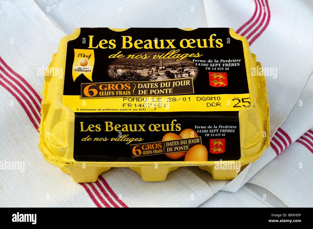 French carton / box of 6 large fresh farm eggs. - Stock Image