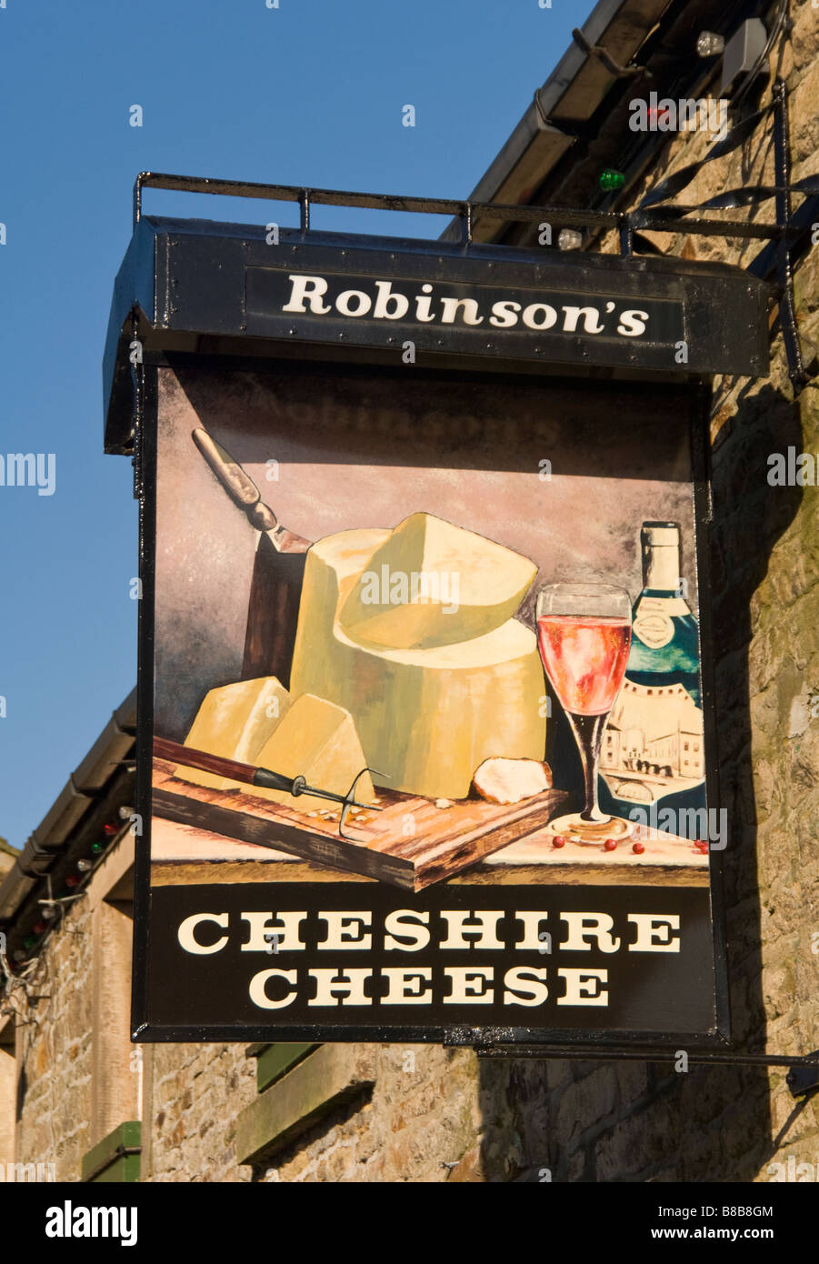 Cheshire Cheese Public House Signboard, Village of Longnor, Peak District National Park, Derbyshire, England, UK - Stock Image