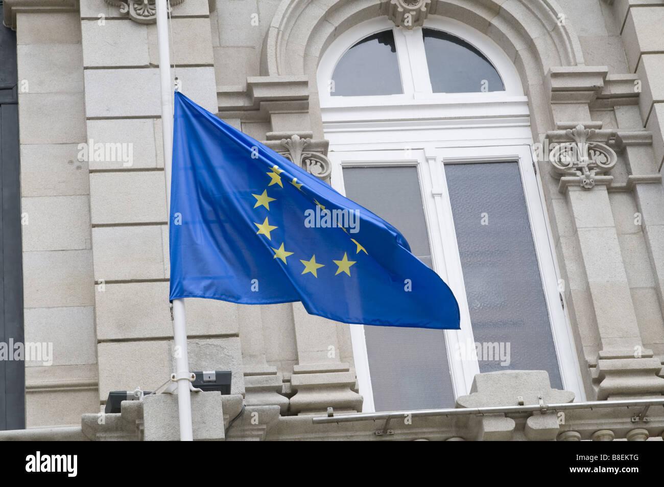 european union flag on a spanish town hall (La Coruna) - Stock Image