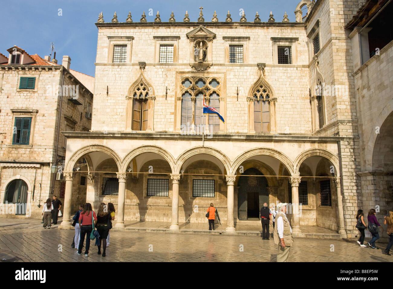 Sponza Palace exterior Dubrovnik Dalmatia Croatia Europe - Stock Image