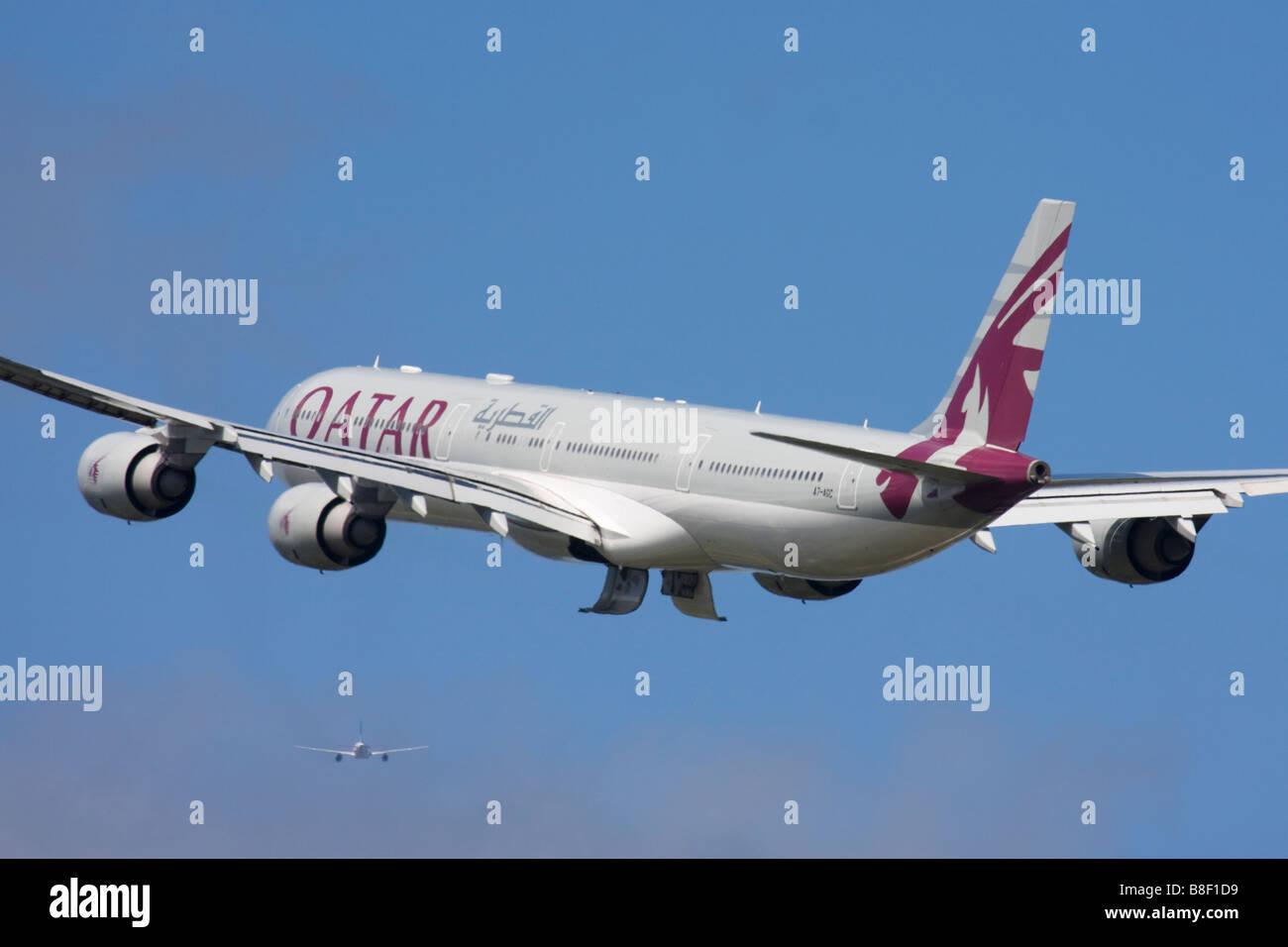 Qatar Airways Airbus A340-642 departure at London Heathrow Airport, United Kingdom Stock Photo