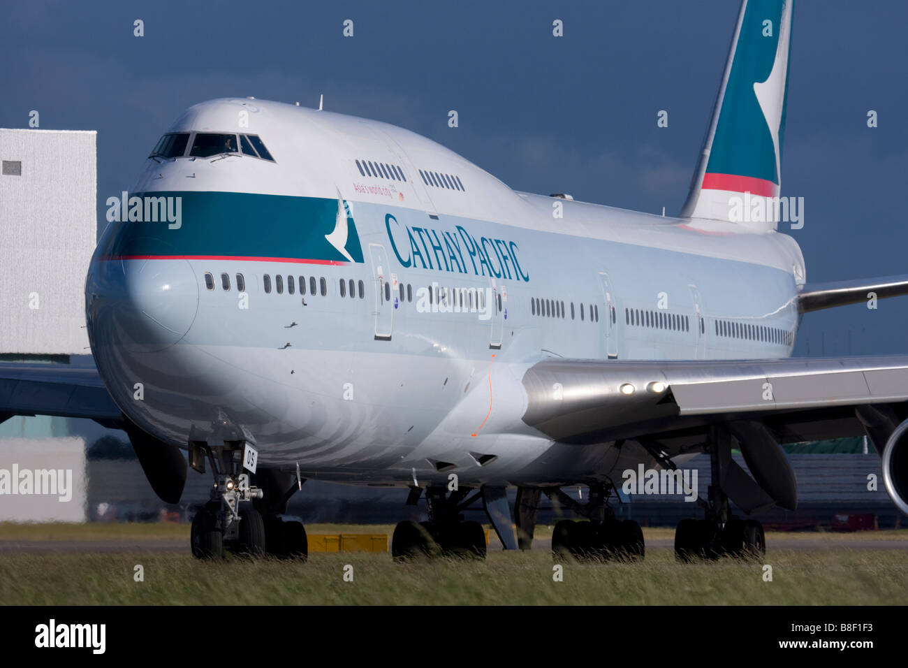 Cathay Pacific Airways Boeing 747-467 taxiing for departure at London Heathrow airport. Stock Photo