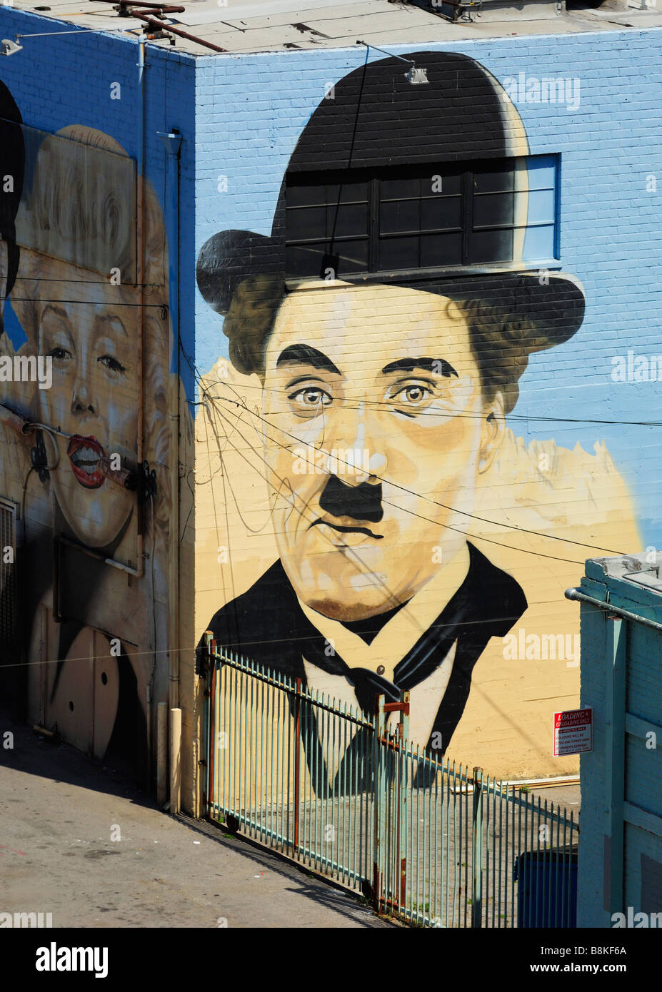 Charlie Chaplin and Marylin Monroe Mural Painting, Los Angeles CA - Stock Image
