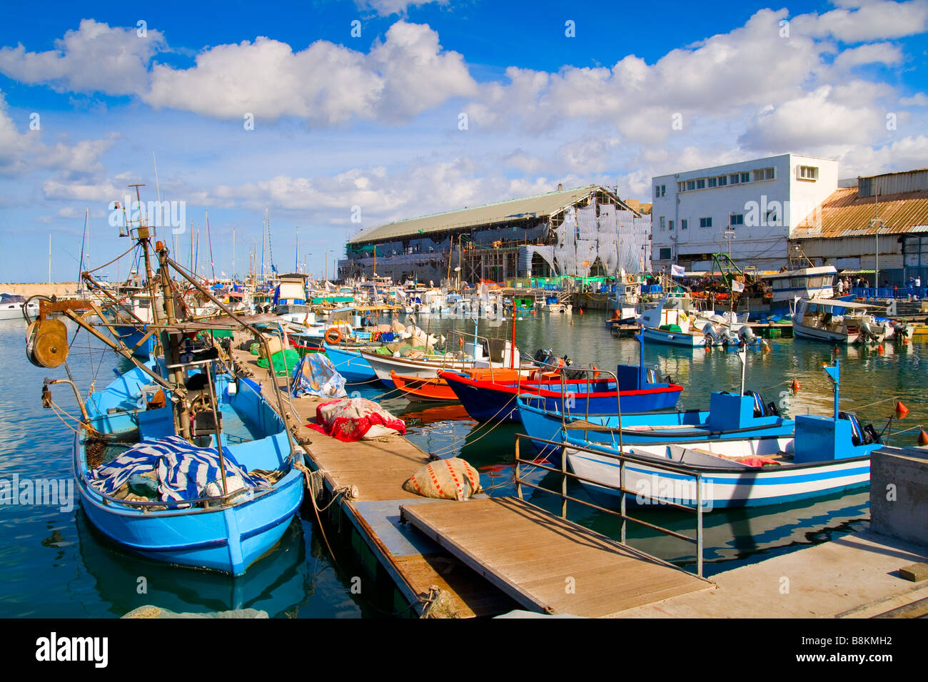 Lots of boats in picturesque port of Tel Aviv Israel - Stock Image