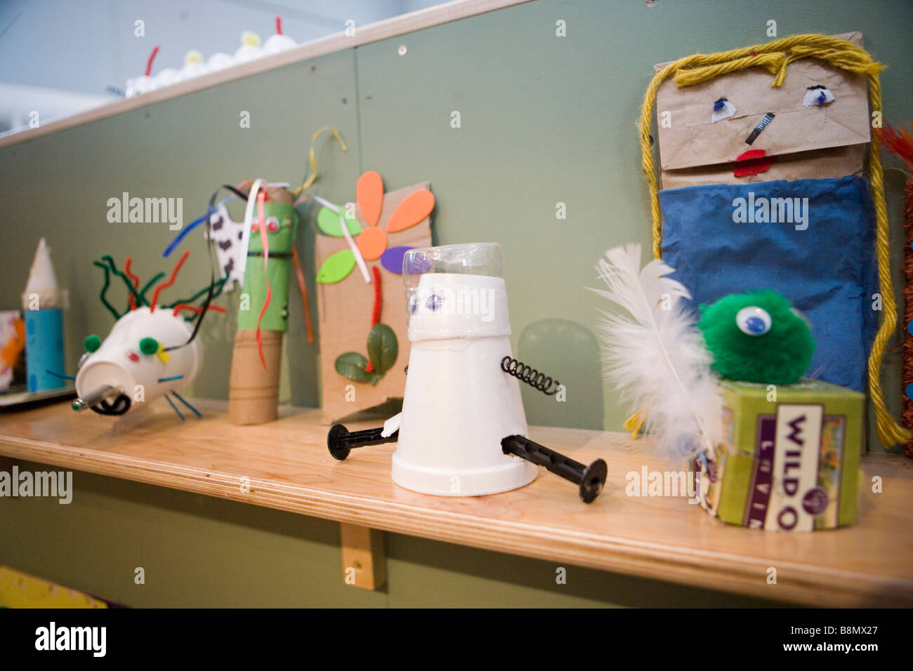bag puppets, dolls, and toys made of simple recycled materials - Stock Image