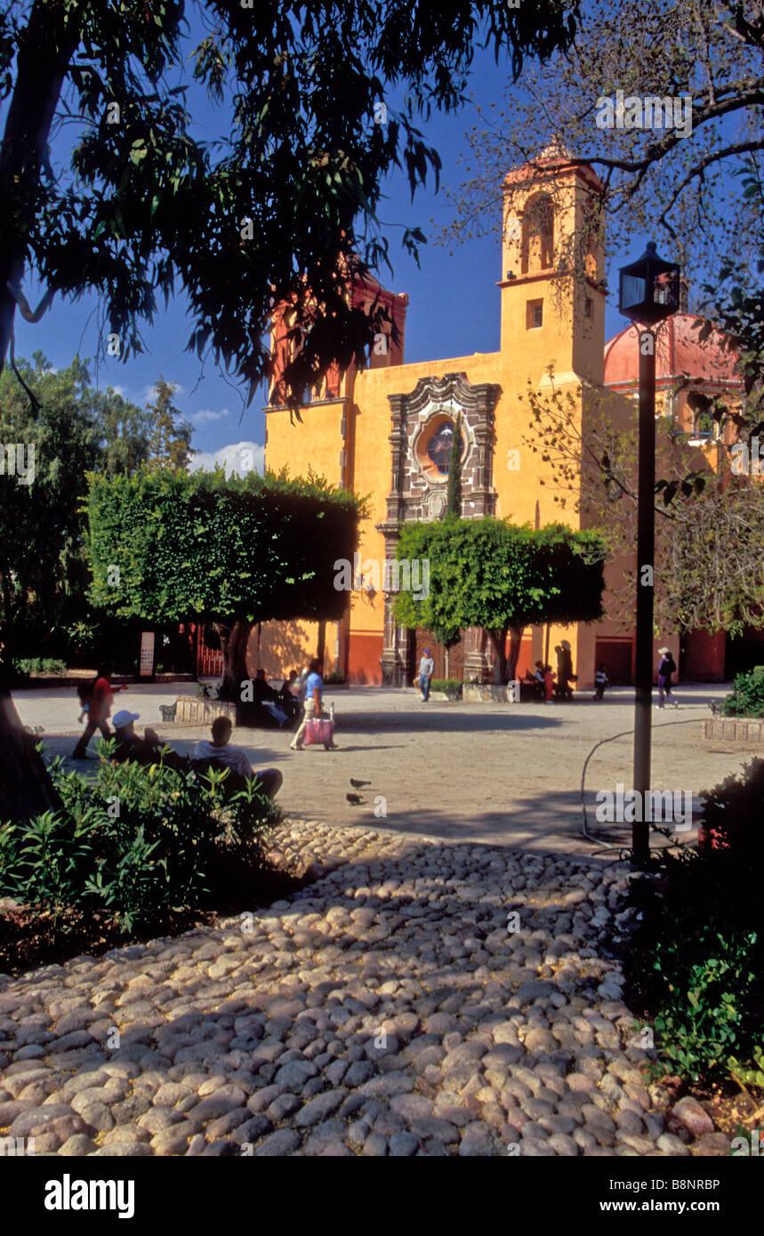 A temple near the city center in the colonial city of San Miguel de Allende, Guanajuato, Mexico - Stock Image