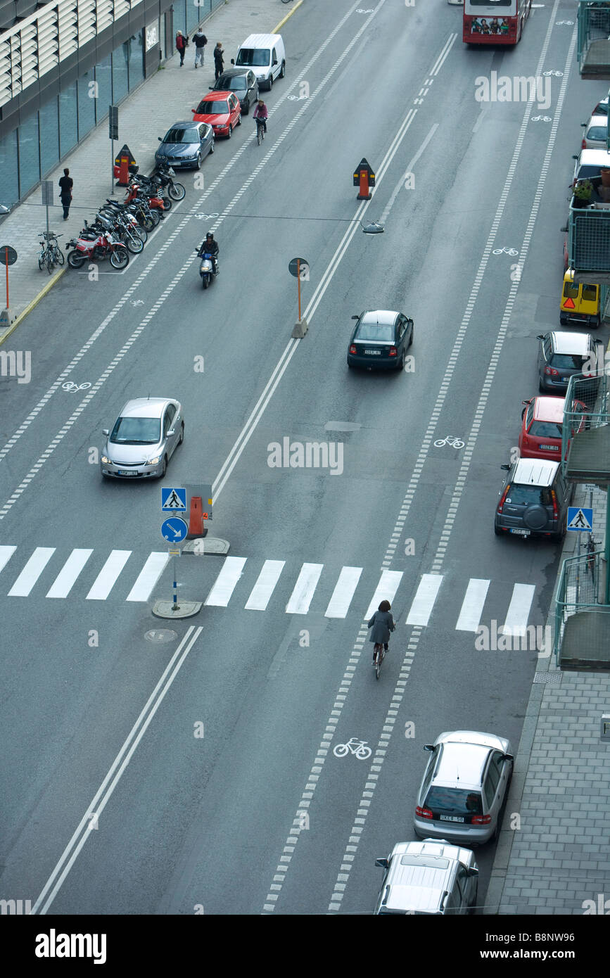 Sweden, Stockholm, urban street with light traffic - Stock Image
