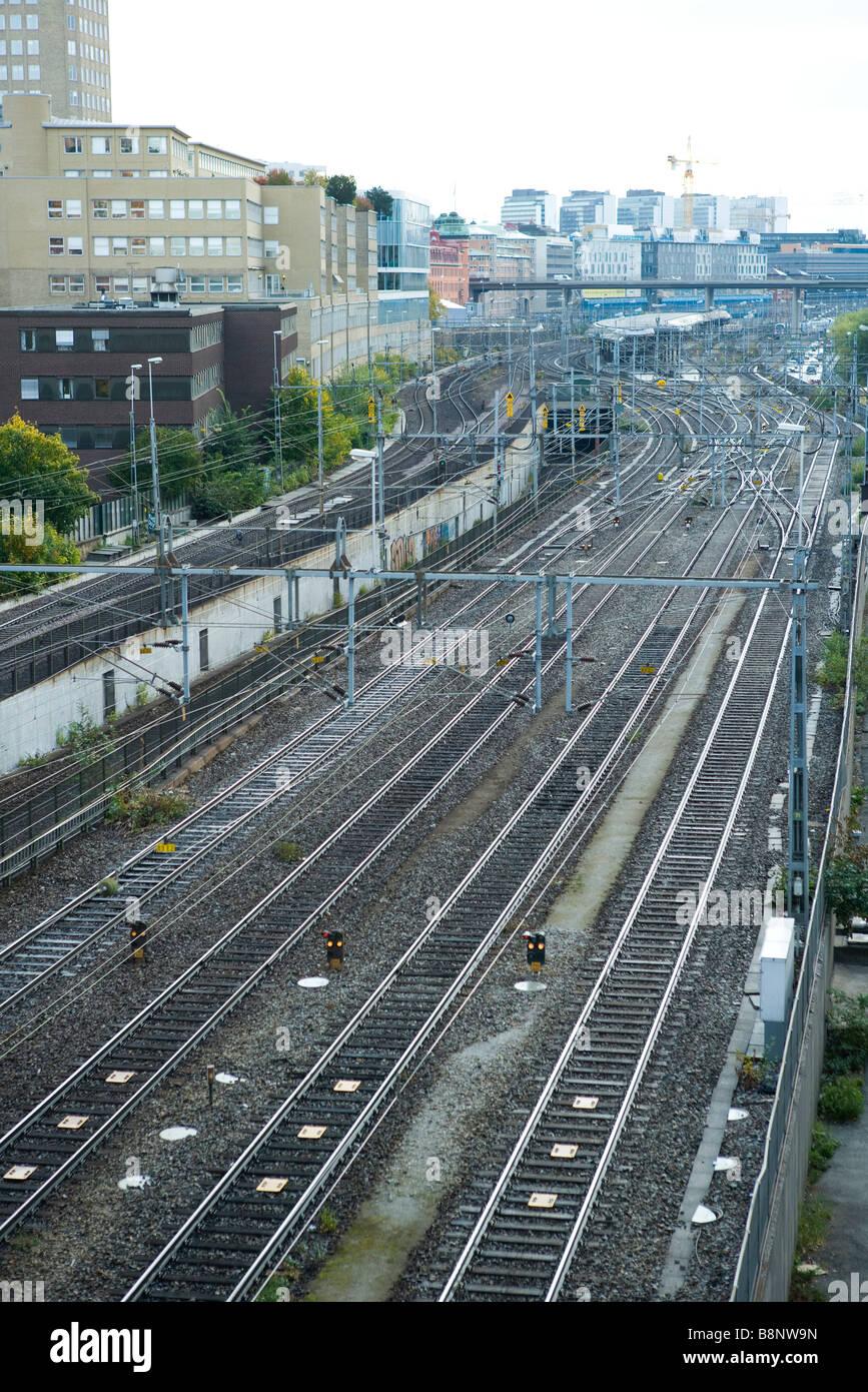 Sweden, Stockholm, railway switchyard - Stock Image