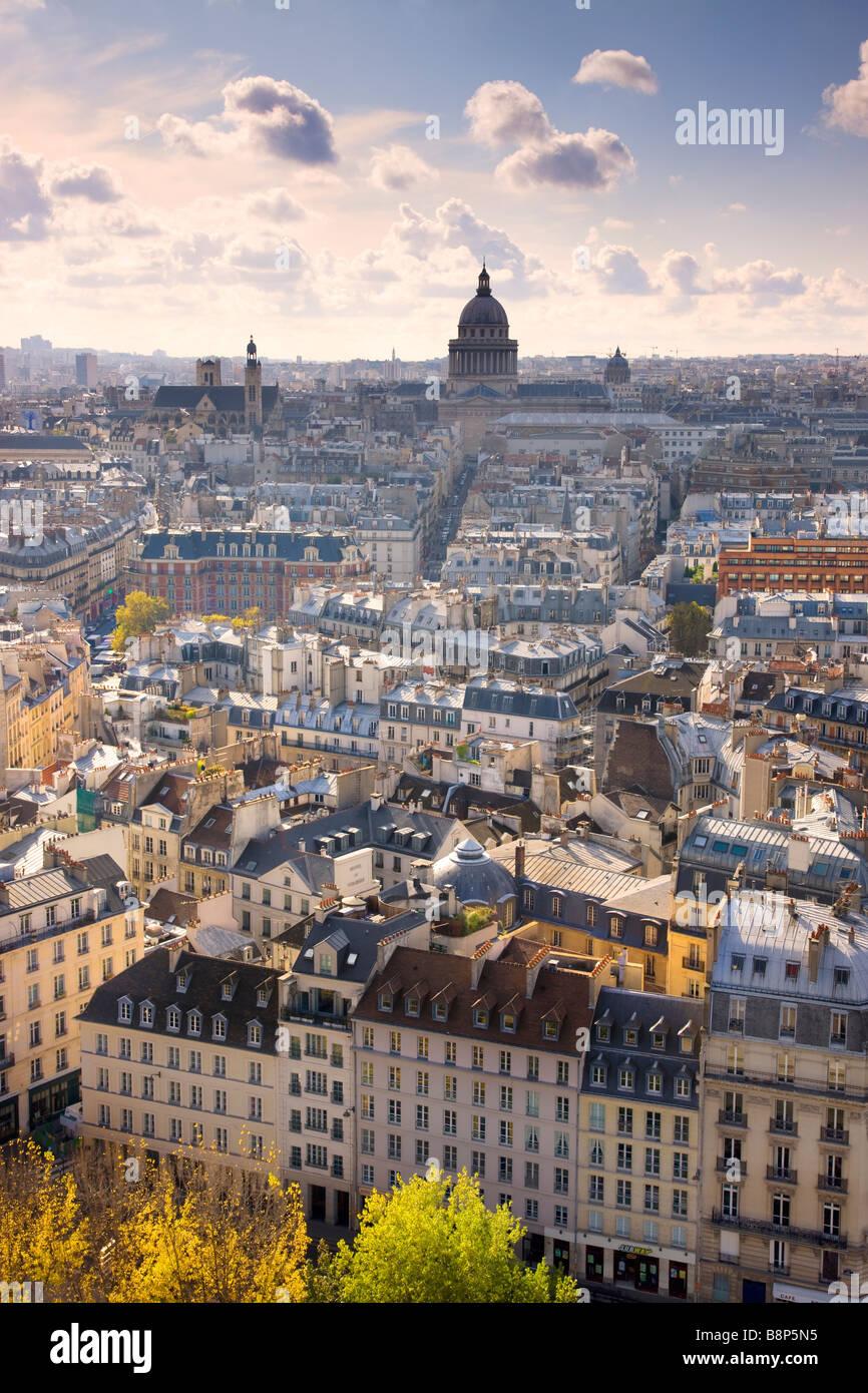 View over Paris to the Pantheon Dome Paris France - Stock Image