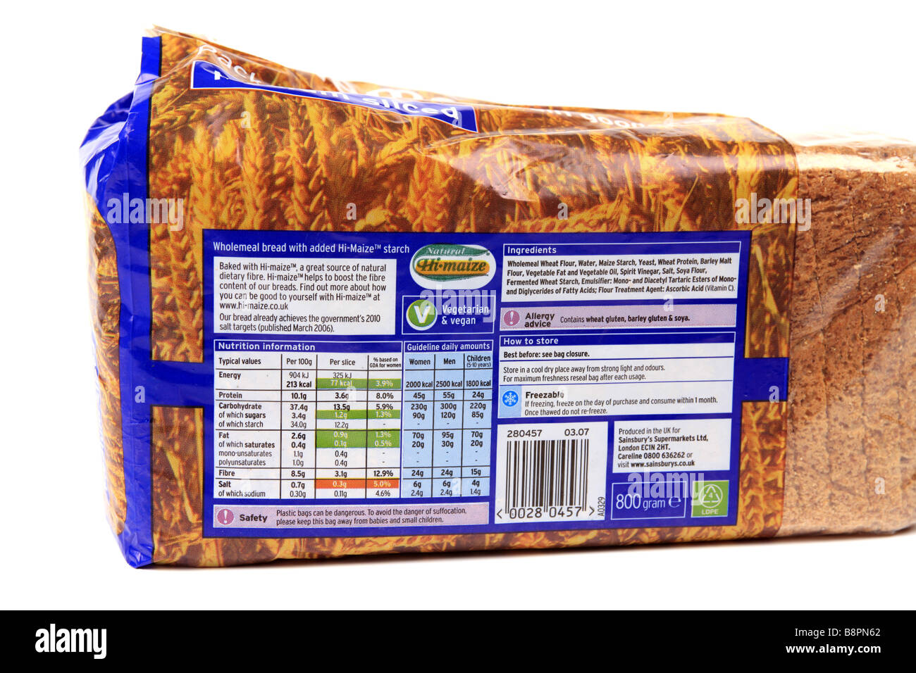 Food label on the packaging of a brown wholemeal loaf of bread - Stock Image