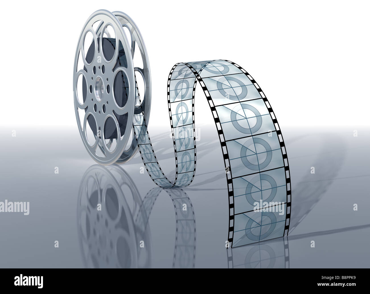 Illustration of a movie reel and film on a shiny surface - Stock Image