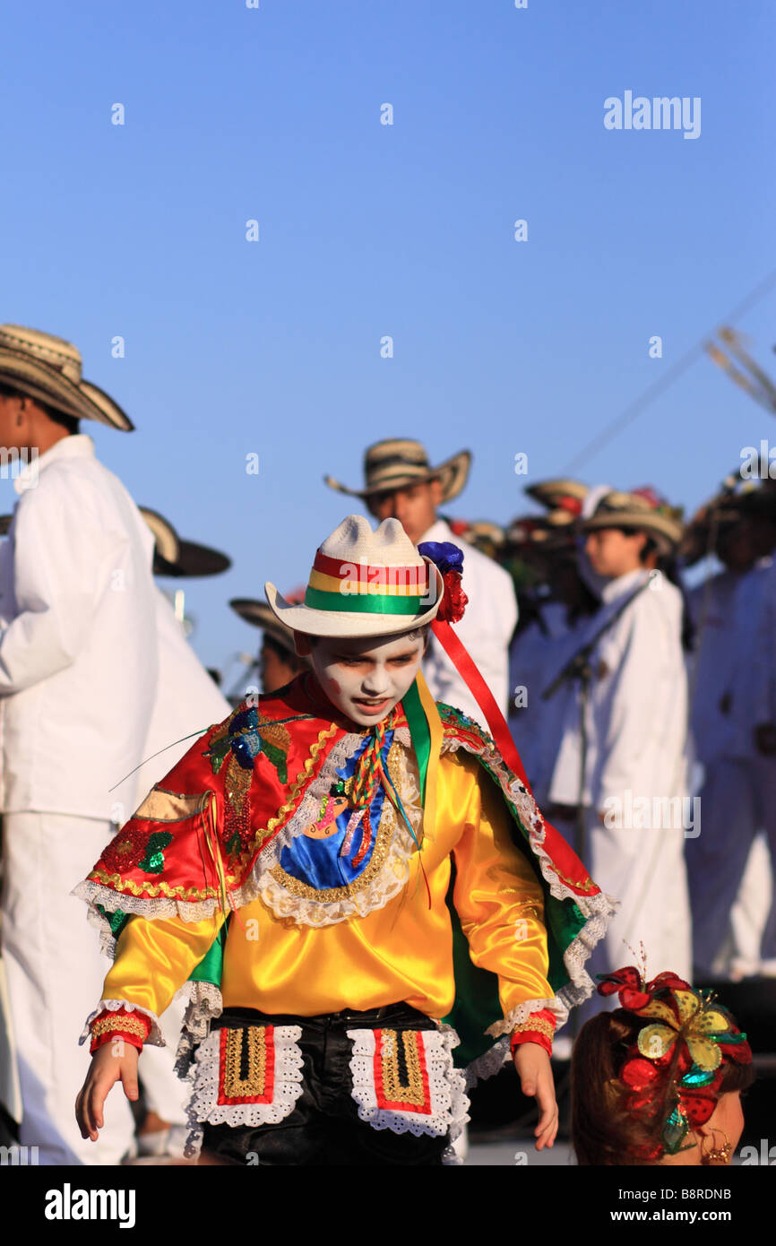 Group of young musicians wearing the traditional suit during the Carnival of Barranquilla, Atlantico,  Colombia, - Stock Image