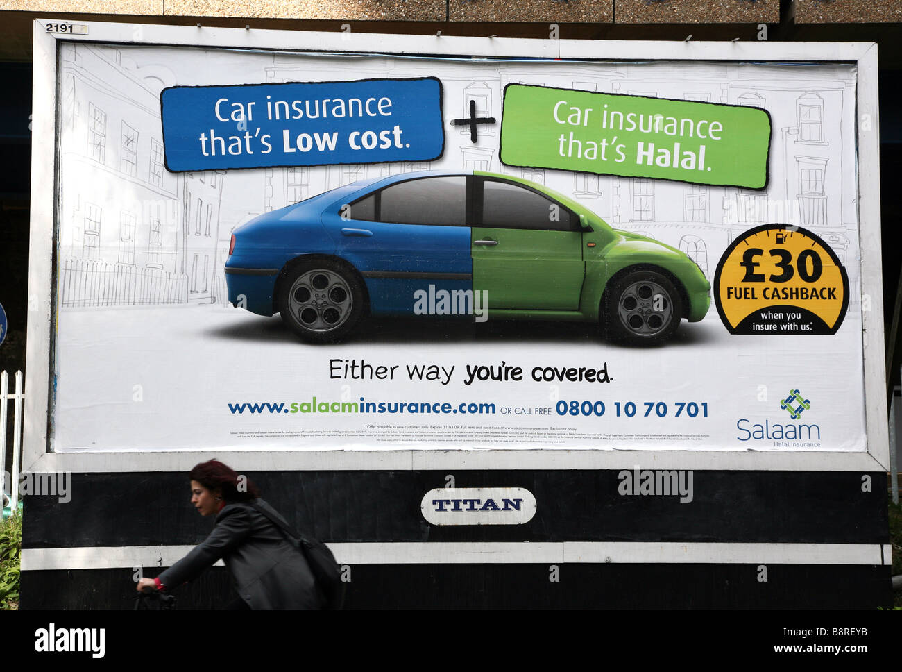 Advert for Halal car insurance, East London - Stock Image