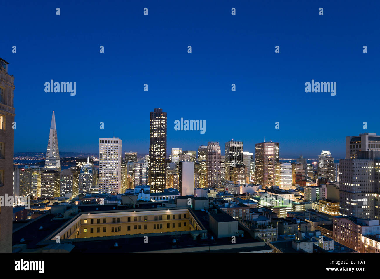 Night view of downtown financial district from the Interncontinental Mark Hopkins Hotel, Nob Hill, San Francisco, - Stock Image