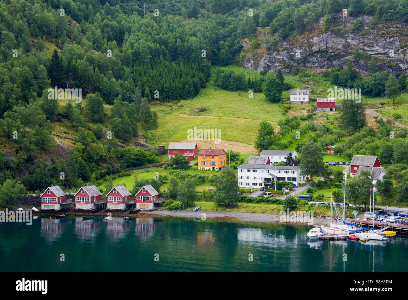 High angle view of a village on the coast, Flam, Aurlandsfjord, Sogn Og Fjordane, Norway - Stock Image