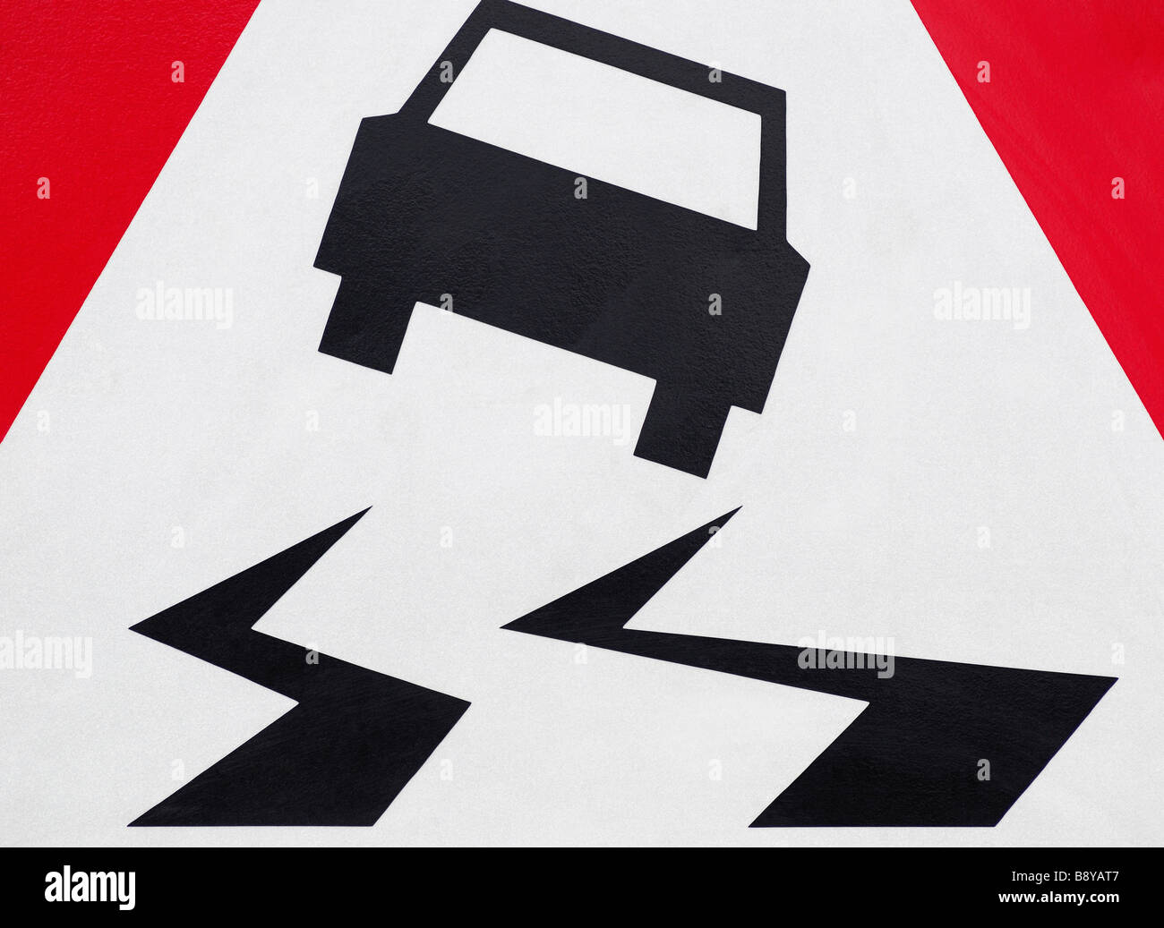 Slippery Road Sign - Stock Image